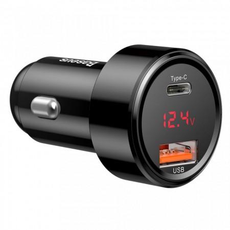 Incarcator auto Baseus Magic cu display digital USB Quick Charge 3.0 / USB Type C PD QC4+ 45W 6A , negru