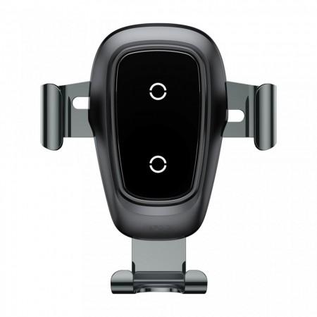 Suport auto, Baseus Metal Gravity cu incarcare wireless,negru