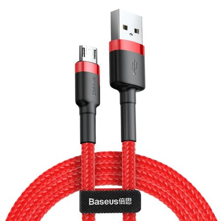 Cablu micro USB QC3.0 2.4A 1M, BASEUS Cafule Durable Nylon, rosu