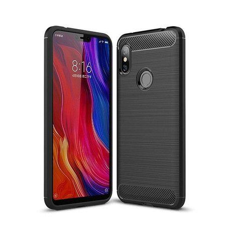 Husa telefon TPU model carbon , Gema Mixt pentru Xiaomi Redmi Note 6 Pro , negru