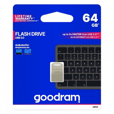 Stick USB Goodram pendrive 64GB USB 3.2 Gen 1 60 MB/s (rd) - 20 MB/s (wr) silver (UPO3-0160S0R11)