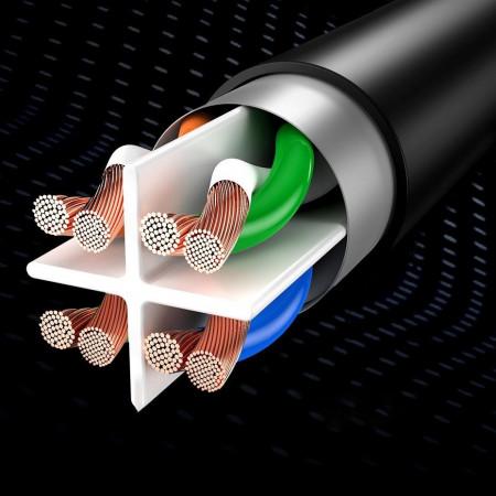 Cablu patchcord Ethernet plat Baseus RJ45 Cat 6 1000Mbps 3 m negru (PCWL-C01)