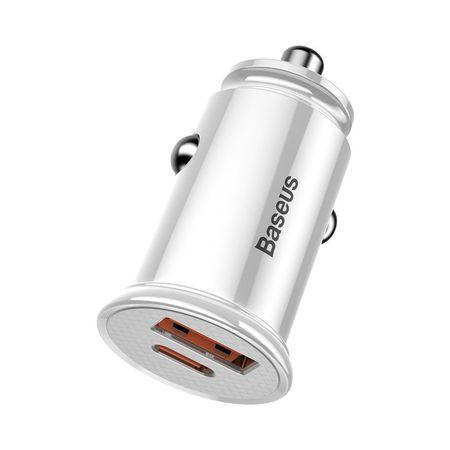 Incarcator auto Baseus Circular PPS Universal Smart USB Quick Charge 4.0 QC 4.0 and USB-C PD 3.0 SCP , alb