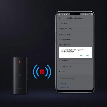 Adaptor audio wireless Bluetooth Baseus BA03 APT-X NFC mini jack reciever , negru (NGBA03-01)