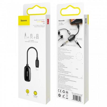 Adaptor Lightning la Jack 3.5mm + 2x Lightning(mama), Baseus Audio Converter L51 HUB, negru