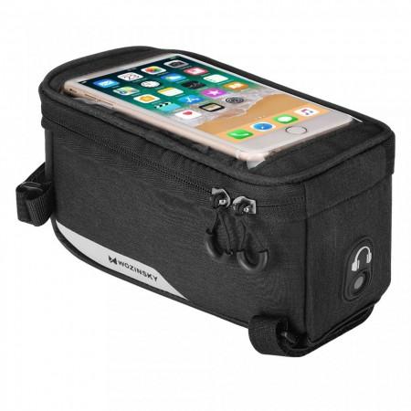 Borseta bicicleta Wozinsky cu husa telefon impermeabila pentru telefoane pana in 6.5 inch, cablu jack 3.5 mm inclus , montare pe cadru , 1L , neagra