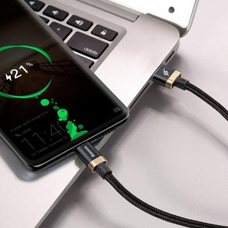 Cablu de date USB-C, Baseus Purple Gold Red, SuperCharge 40W, Quick Charge 3.0, 2 M, negru