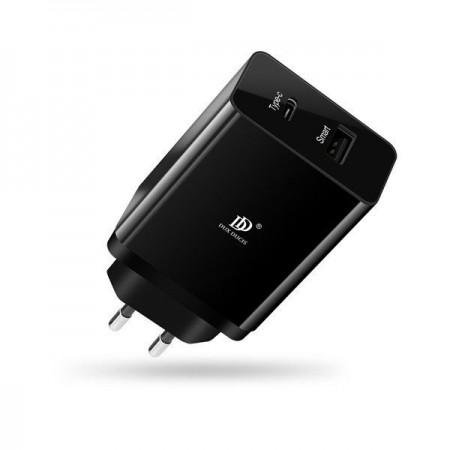 Incarcator retea pentru telefon , Dux Ducis c40 , 1 port Usb Smart , 1 x Type C PD 3.0 , negru