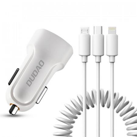 Kit incarcator auto DUDAO 2X USB 2.4A + cablu USB 3 in 1 - alb