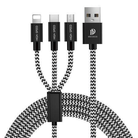 Cablu de date 1.2M 3in1 Dux Ducis K-One 2.4A USB-C, Lightning, Micro-USB - Negru