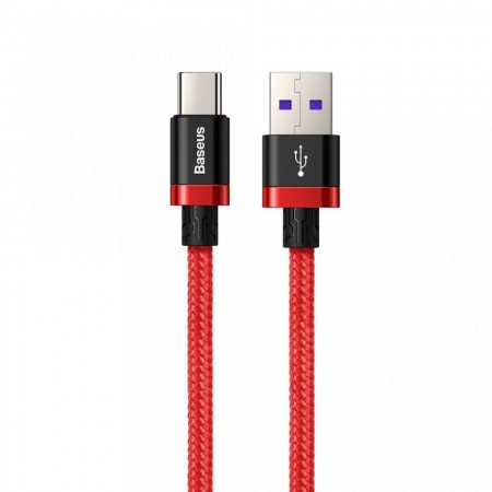 Cablu de date USB-C, Baseus Purple Gold Red, SuperCharge 40W, Quick Charge 3.0, 2 M, rosu