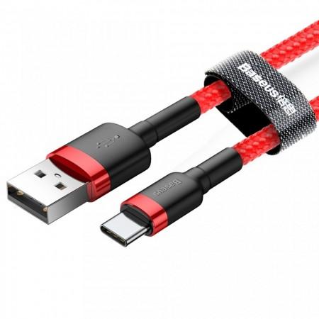 Cablu Type C , QC3.0 , 2.4A , 0.5M, BASEUS Cafule Durable Nylon, rosu