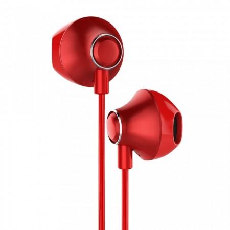 CASTI AUDIO TELEFON CU TELECOMANDA PENTRU CONTROLUL VOLUMULUI , BASEUS ENOCK H06 , JACK 3.5 MM , ROSU