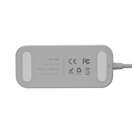 Adaptor 7 in 1 USB-C Blitzwolf BW-TH5 3xUSB 3.0, HDMI, USB-C PD, SD, microSD