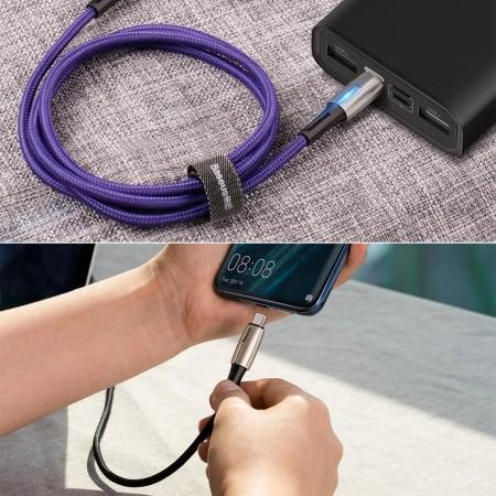 Cablu de date si incarcare cu indicator LED , Baseus Water Drop , Type-C PD2.0 60W 20V 3A 1m , negru