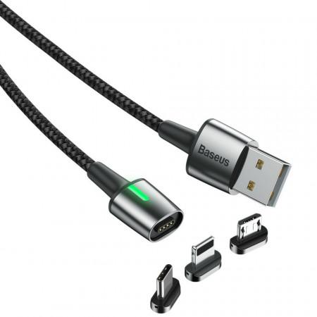 Cablu magnetic din zinc Lightning + Type-C + Micro 2.4 / 3A 2m Negru