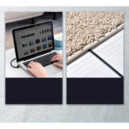 Cablu patchcord Ethernet plat Baseus RJ45 Cat 6 1000Mbps 5 m negru (PCWL-D01)