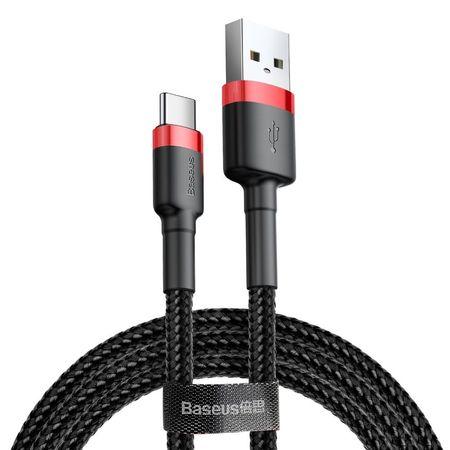 Cablu Type C , QC3.0 , 2.4A , 1M, BASEUS Cafule Durable Nylon, negru+rosu