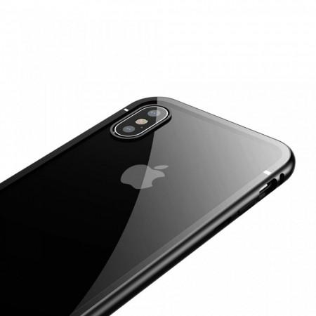 Husa de protectie hibrida din sticla transparenta si rama magnetica, Baseus Magnetite , iPhone XS Max, contur negru