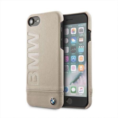 HUSA TELEFON DIN PIELE NATURALA , TIP BUMPER , BMW PENTRU APPLE IPHONE 7/8, bej
