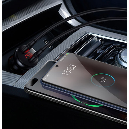 Incarcator auto Baseus 2x USB 45 W 5 A Quick Charge 3.0 Huawei SCP cu display LED + cablu USB Type C gray (TZCCBX-B0G)
