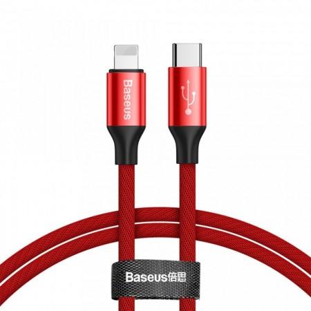 Cablu pentru incarcare Lightning, Baseus Yiven, USB C -Lightning, 1 m, Rosu