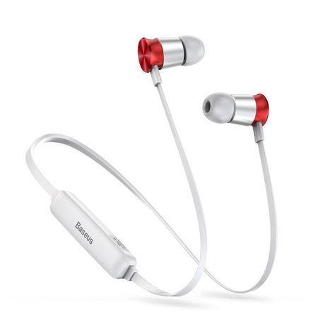 Casti telefon cu prindere magnetica , in ear cu bluetooth 4.1 , Baseus Encok Sports S07 , rosu-argintiu