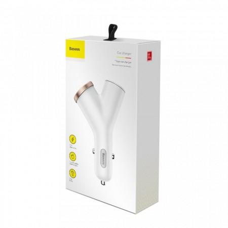 Incarcator auto cu 2 iesiri USB si extindere bricheta , Baseus Y Type , 3.4 A , 12V-24V , alb