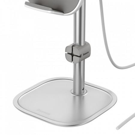 Suport telefon telescopic cu incarcare wireless de 15 W si cablu USB , gri