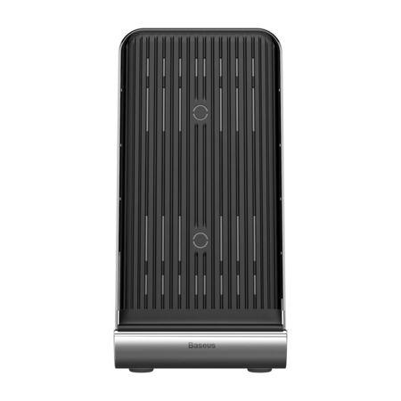 Incarcator telefon wireless, Baseus Vertical, cu ventilator incorporat si functie stand, negru