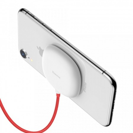 Incarcator wireless original Baseus Suction Cup Wireless , incarcare rapida , safe , QI charge , alb