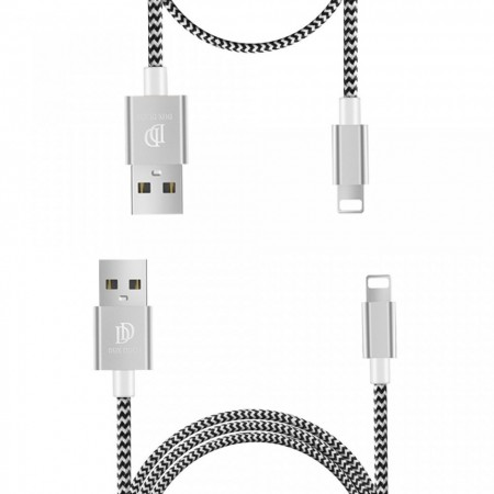 Set 2 cabluri de date si incarcare Dux Ducis K Two , 1 x Lightning 100 cm 5V 2A si 1 x Lightning 20 cm 5V 3A , silver