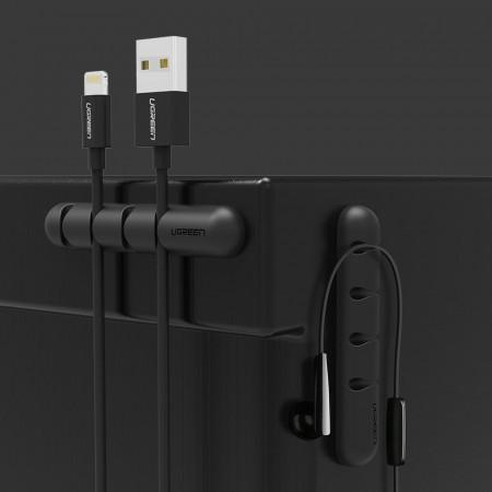 Set 2x organizatoare de 7 cabluri cu autoadeziv - negru