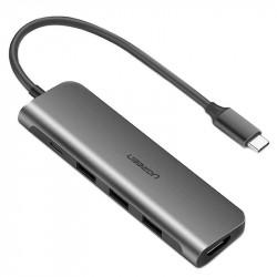 Adaptor UGREEN 5in1 USB-C la HDMI 4K, 3x USB 3.0, tip C