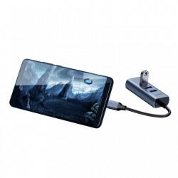 Adaptor USB-C la 3x USB 3.0 + RJ45 (LAN), Baseus Enjoy HUB, gri