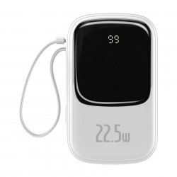 Baterie externa Baseus Q pow Digital Display 20000mAh, IP, USB, USB-C, 22.5W cu cablu Type-C (white)