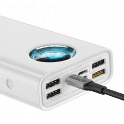 Baterie externa cu afisaj Baseus Amblight 30000mAh 33W PD3.0 QC3.0 4x USB / 1x USB Type C , alba