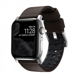 Bratara din piele hidrofoba Nomad Active Pro Maro + Negru - Apple Watch 44/42 mm , silver