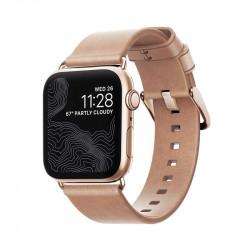 Bratara din piele naturala Nomad , gold - Apple watch Seria 5 si versiunile anterioare, 40/38 mm