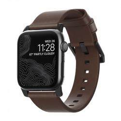 Bratara din piele naturala Nomad , maron- Apple watch Seria 5 si versiunile anterioare, 44/42 mm