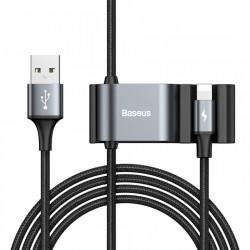 Cablu de date special creat pentru pasagerii de pe scaunele din spate ale masinii, Baseus USB to Lightning + 2x USB HUB negru (CALHZ-01)