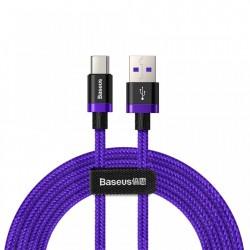 Cablu de date USB-C, Baseus Purple Gold Red, SuperCharge 40W, Quick Charge 3.0, 2 M, albastru