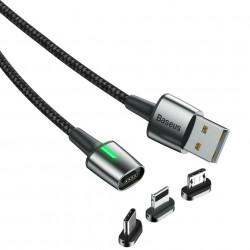 Cablu magnetic din zinc Lightning + Type-C + Micro 2.4 / 3A 1m Negru