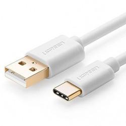 Cablu USB-C placat cu aur 0.50m alb