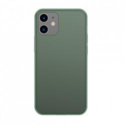 Carcasa rigida din sticla mata Baseus cu cadru flexibil pentru iPhone 12 Pro / iPhone 12 Verde inchis (WIAPIPH61P-WS06)