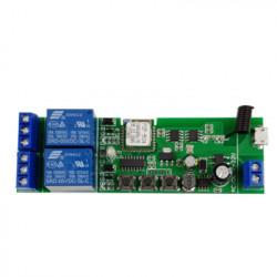 Comutator inteligent cu releu inteligent 5W-32V cu 2 ganguri, cu contact uscat și comutator momentan, compatibil eWeLink / Sonoff, Wi-Fi + RF