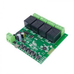 Comutator inteligent cu releu inteligent 5W-32V cu 4 ganguri, cu contact uscat și comutator momentan, compatibil eWeLink / Sonoff, Wi-Fi