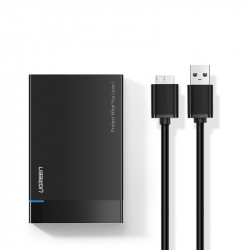 "Hard disk extern Ugreen Carcasa SSD HDD SATA 2,5 ""USB 3.2 Gen 1 (5 Gbps) micro USB SuperSpeed + cablu negru (US221 30848)"