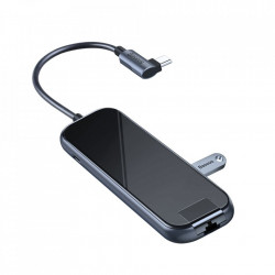 HUB Baseus, Type-C la 3xUSB 3.0+4K/HD+RJ45+PD Adapter pentru MacBook / PC Dark Grey (CAHUB-DZ0G)