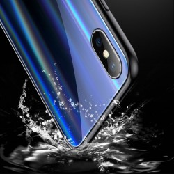 Husa telefon, Baseus Laser Luster, pentru iPhone X, cu margini din silicon si spate din sticla securizata, negru